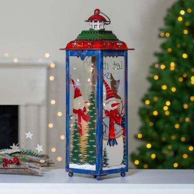 """15 in. Red White and Green """"Snow"""" Christmas Lantern"""