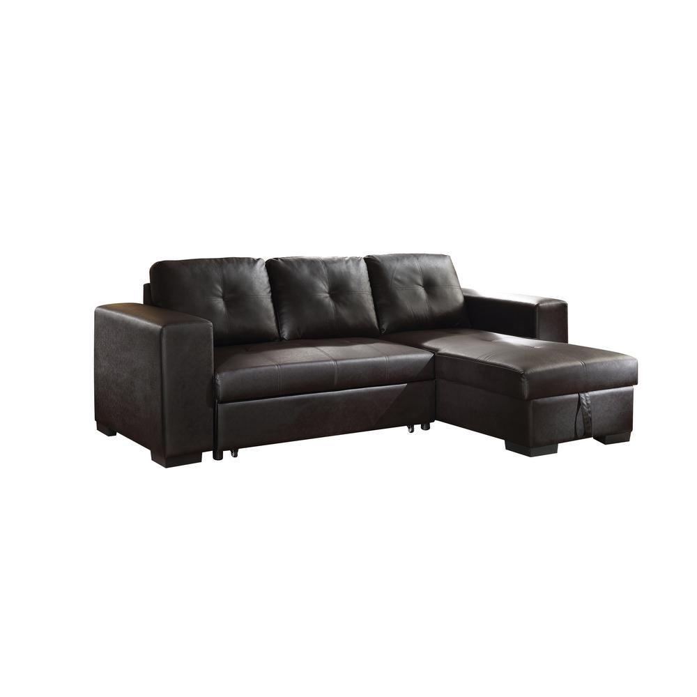 Lloyd Black PU Sectional Sofa Bed