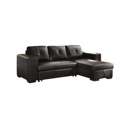 Lloyd Black PU Sectional Sofa Bed