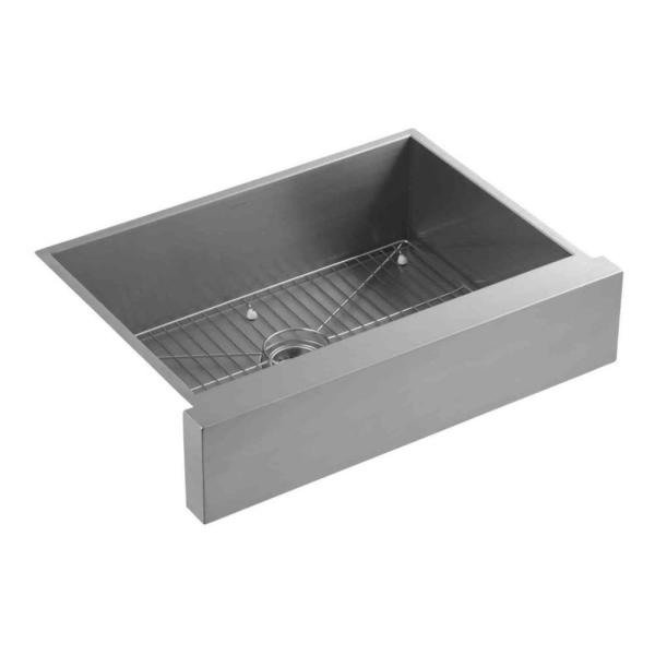Vault Undermount Farmhouse Apron Front Stainless Steel 30 in. Single Bowl Kitchen Sink Kit with Basin Rack