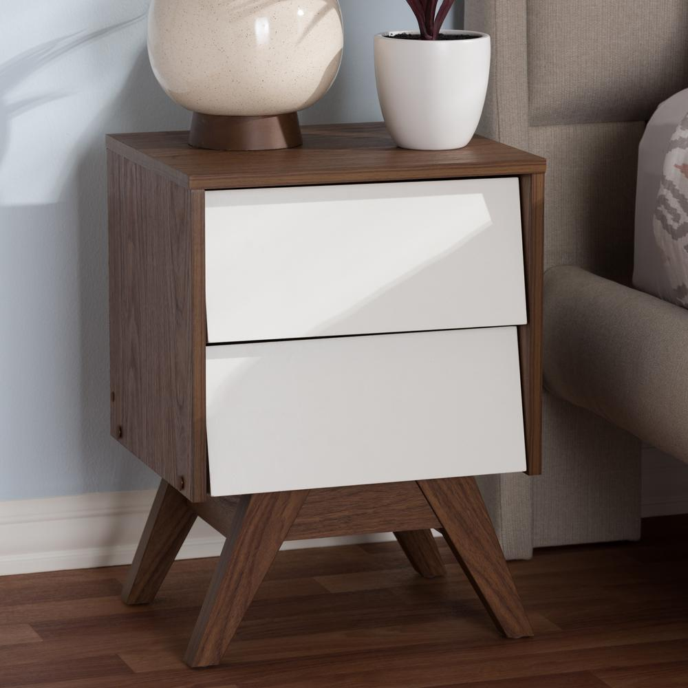 Hildon 2-Drawer White Nightstand