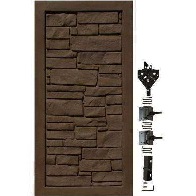 EcoStone 3 ft. W x 6 ft. H Dark Brown Composite Privacy Fence Gate