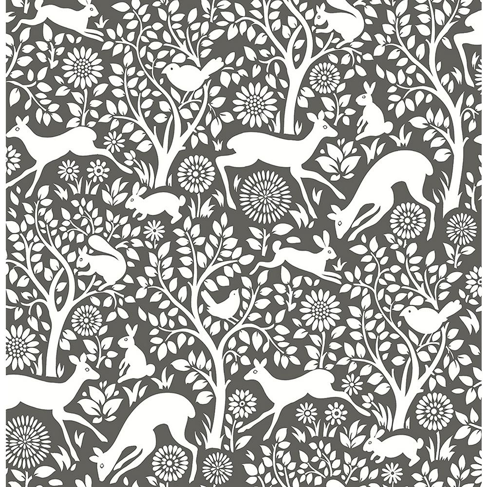 A-Street Meadow Charcoal Animals Wallpaper-2702-22729 ...