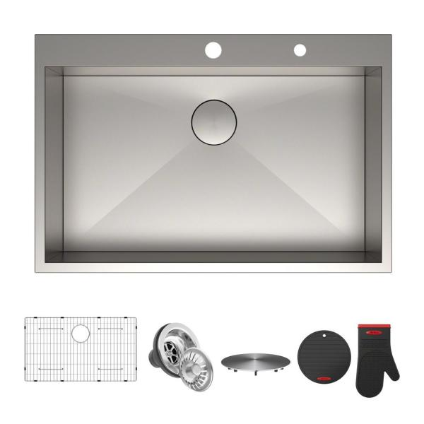 Pax Series 33 in. Drop-In Stainless Steel 2-Hole Single Bowl Kitchen Sink
