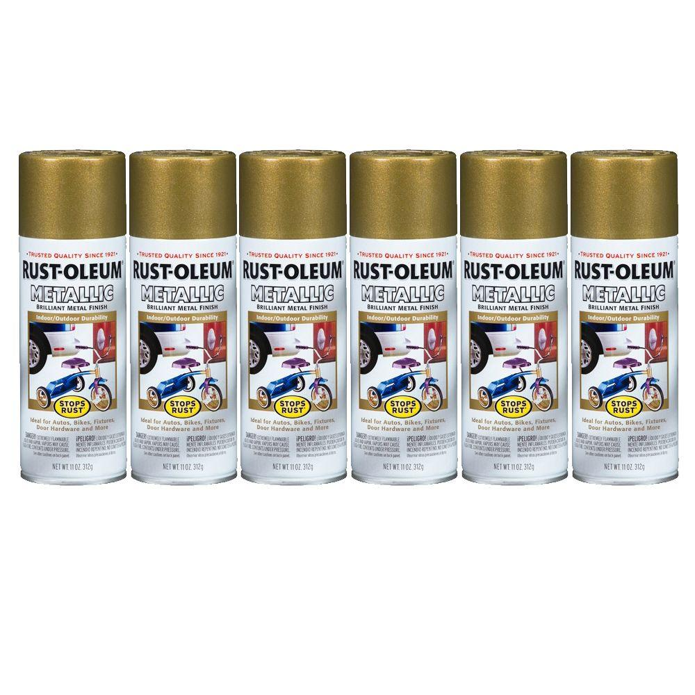 Rust-Oleum Stops Rust 11 oz. Gloss Burnished Brass Metallic Spray Paint (6-Pack)-DISCONTINUED