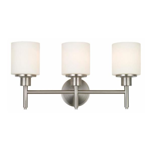 Aubrey 30-Watt Satin Nickel Integrated LED 3-Light Vanity Light