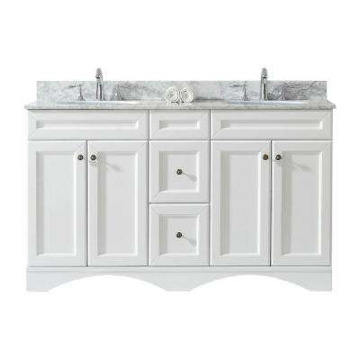 Talisa 60 in. W x 22 in. D Double Vanity in White with Marble Vanity Top in Carrara White with White Basin