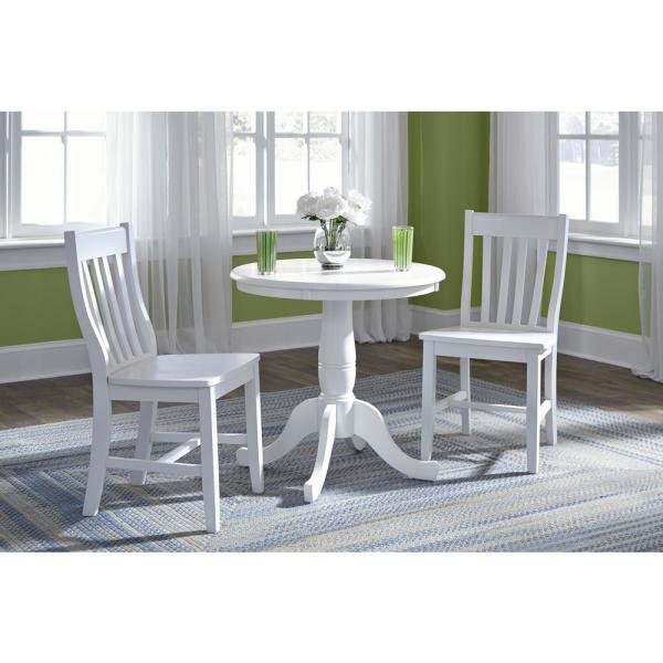 Hampton 3 Piece White Solid Wood Dining
