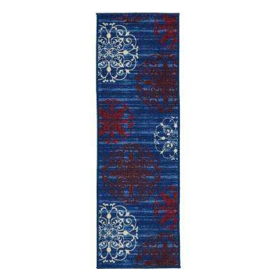 Studio Collection Modern Medallion Design Blue 2 ft. x 5 ft. Non-Skid Runner Rug