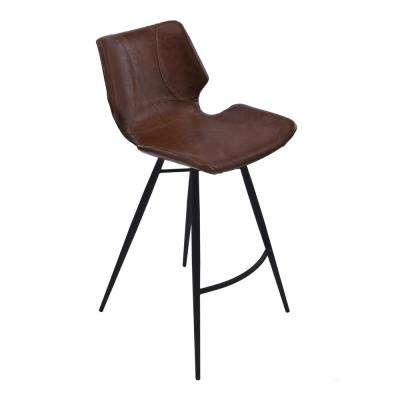 Zurich 30 in. Vintage Coffee Faux Leather and Black Metal Finish Barstool