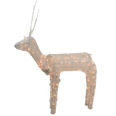 48 in. Christmas 3D Glitter Animated Standing Buck Reindeer Lighted Outdoor Decoration and Clear Lights