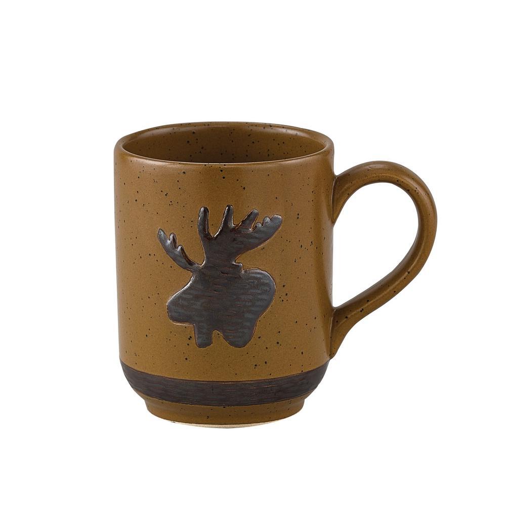 Sawmill 12 oz. Brown Ceramic Moose Coffee Mug (Set of 4)
