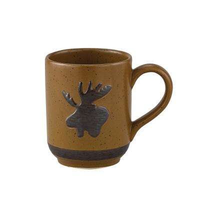 Sawmill 12 oz. Brown Ceramic Moose Coffee Mug (Set of 4)