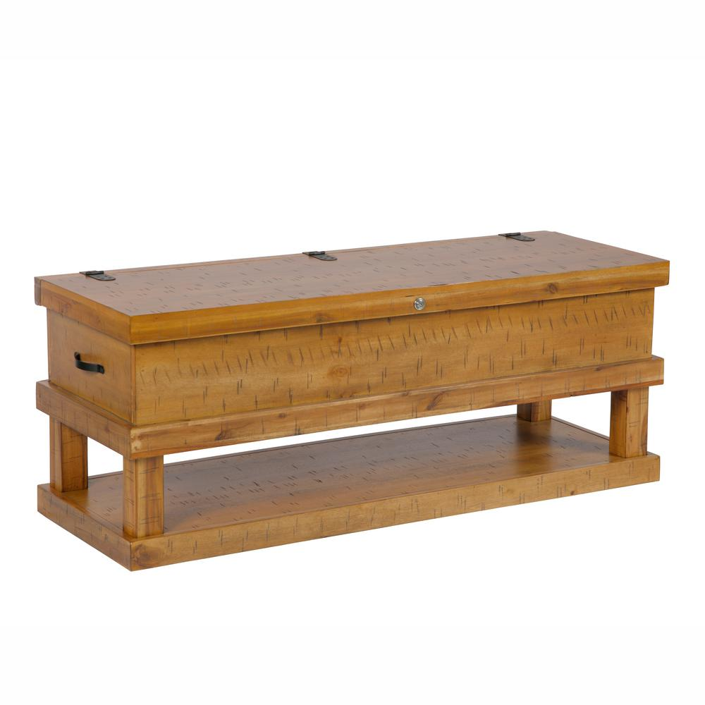 Solid acacia wood distressed toffee rustic lodge style coffee table with 5 gun lockable concealment