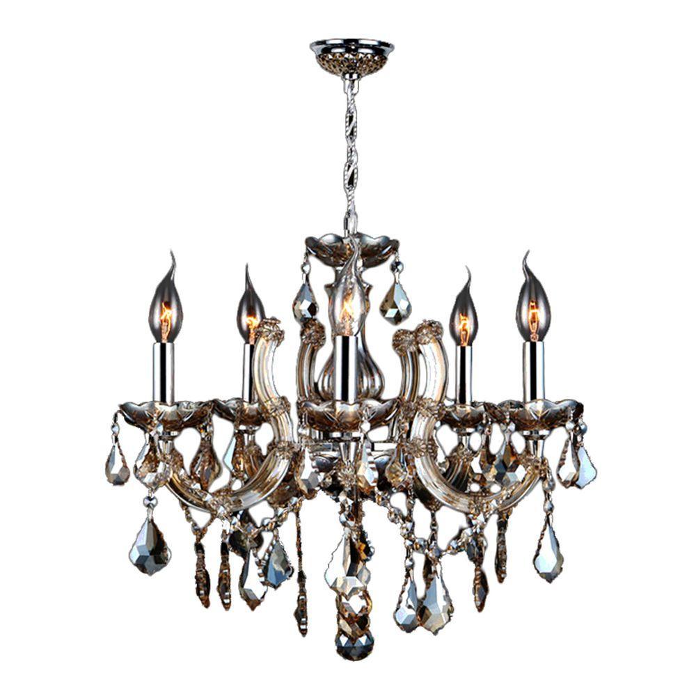 Catherine 5-Light Polished Chrome Chandelier with Golden Teak Crystal