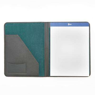 Genuine Leather Luxury Suede Lined Writing Portfolio, Green