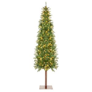 6 ft. Pre-Lit LED Pencil Alpine Artificial Christmas Tree with 250 Warm White Lights