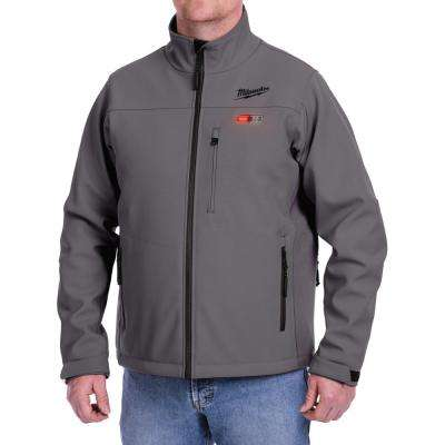Men's Large M12 12-Volt Lithium-Ion Cordless Gray Heated Jacket Kit with (1) 2.0Ah Battery and Charger