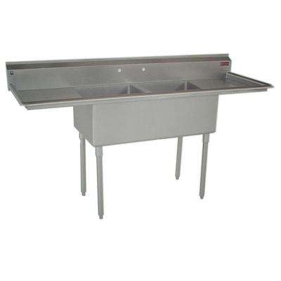 C-Series Floor Mount Stainless Steel 73 in. 2-Hole Double Bowl Kitchen Sink