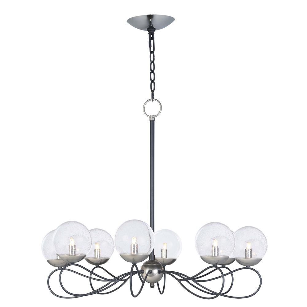 Maxim Lighting Reverb 31 in. W 8-Light Textured Black/Polished Nickel Chandelier with Bubble Glass Shade