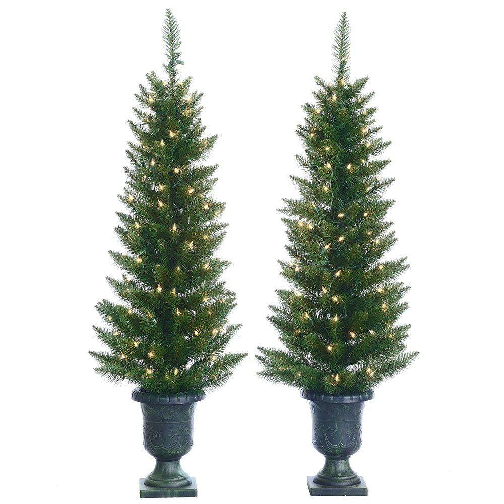 Sterling 4 ft. Pre-Lit Cedar Pine Artificial Christmas Trees with Clear Lights in Pots (Set of 2)