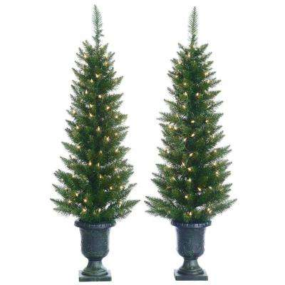 4 ft. Pre-Lit Cedar Pine Artificial Christmas Trees with Clear Lights in Pots (Set of 2)