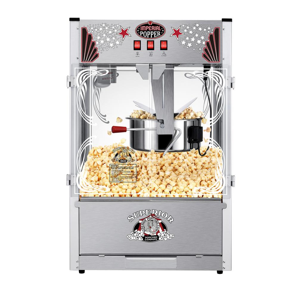 superior popcorn company 20 oz  stainless steel countertop popcorn machine  hwd620000 - the home depot