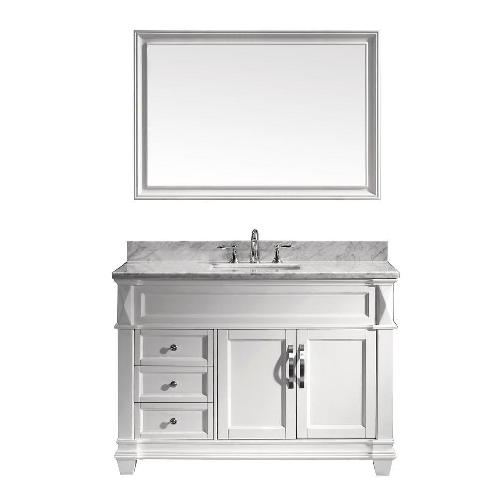 Virtu USA Victoria 48 in. Single Vanity in White with Marble Vanity Top in Italian Carrara White-DISCONTINUED