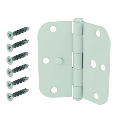 3-1/2 in. White 5/8 in. Radius Security Door Hinge