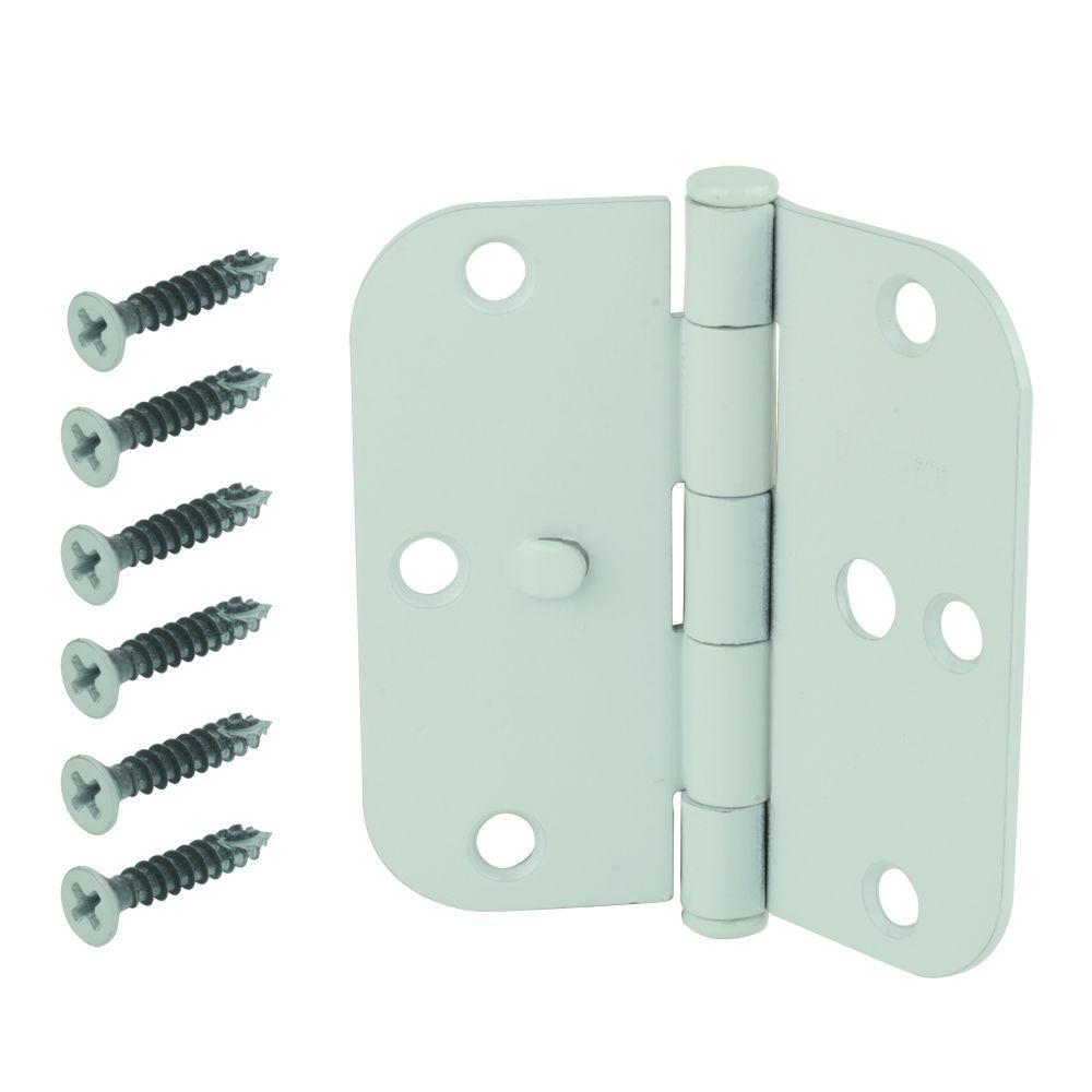 3-1/2 in. White 5/8 in. Radius Security Door Hinge