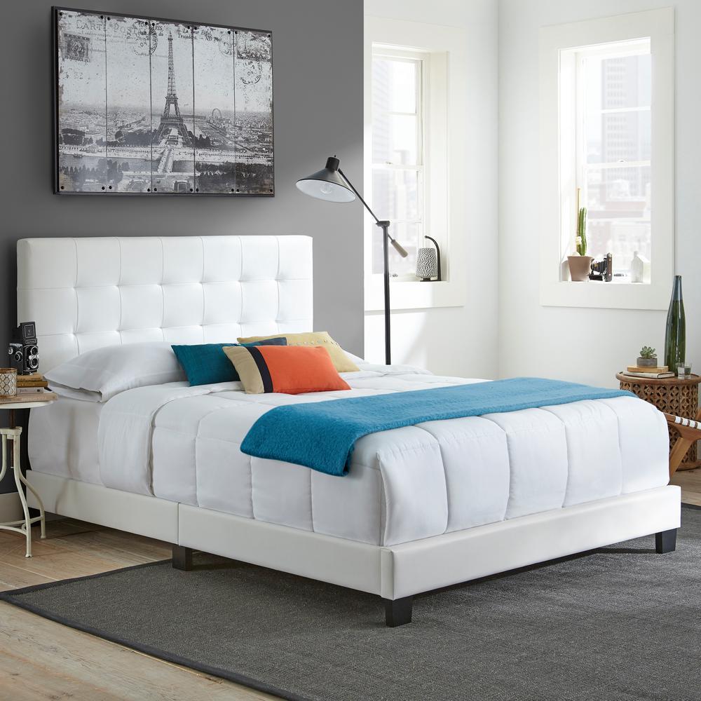 Channing White Full Tufted Upholstered Platform Bed