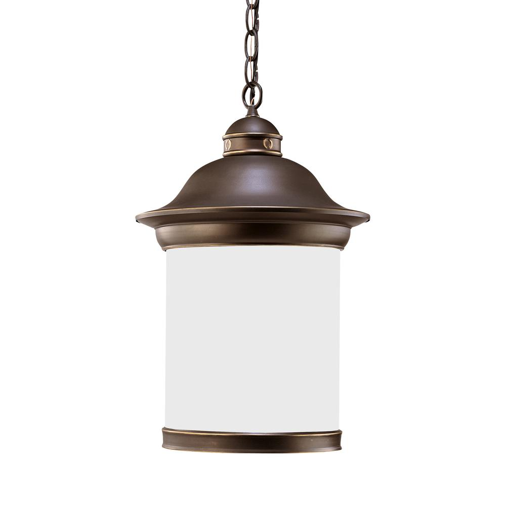 Hermitage Antique Bronze 1-Light Outdoor Hanging Pendant with LED Bulb