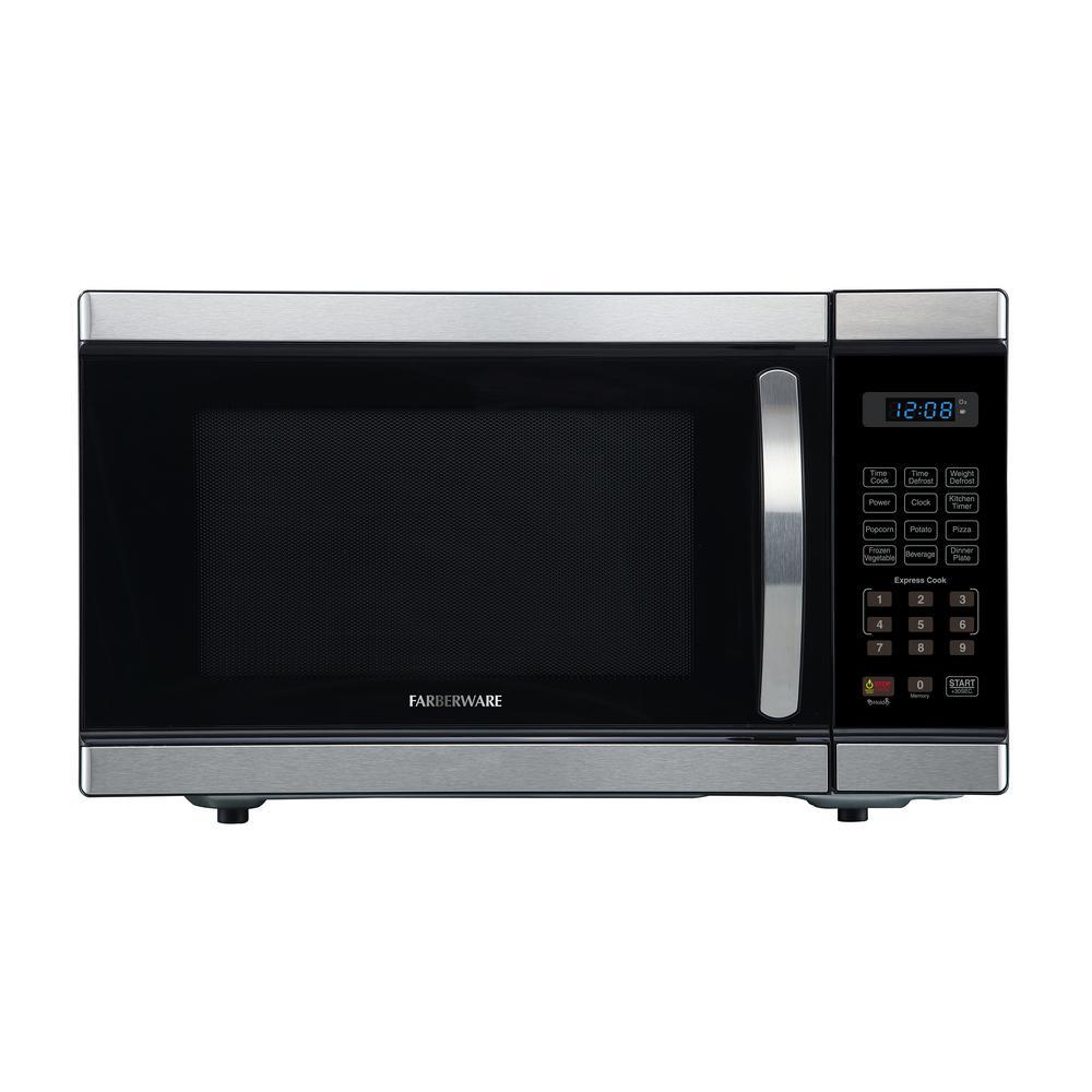 Farberware Professional 1.1 cu. Ft. 1000-Watt Countertop Microwave Oven in Stainless Steel