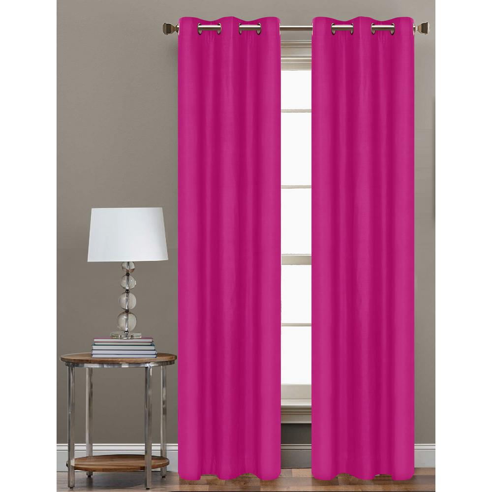 L Polyester Form Blackout Grommet Curtain Panel In Hot Pink