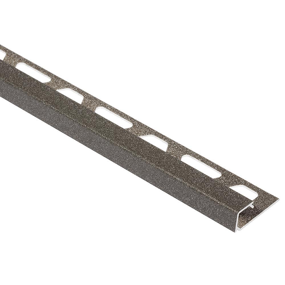 Quadec Light Anthracite Textured Color-Coated Aluminum 3/16 in. x 8 ft. 2-1/2 in. Metal Square Edge Tile Edging Trim