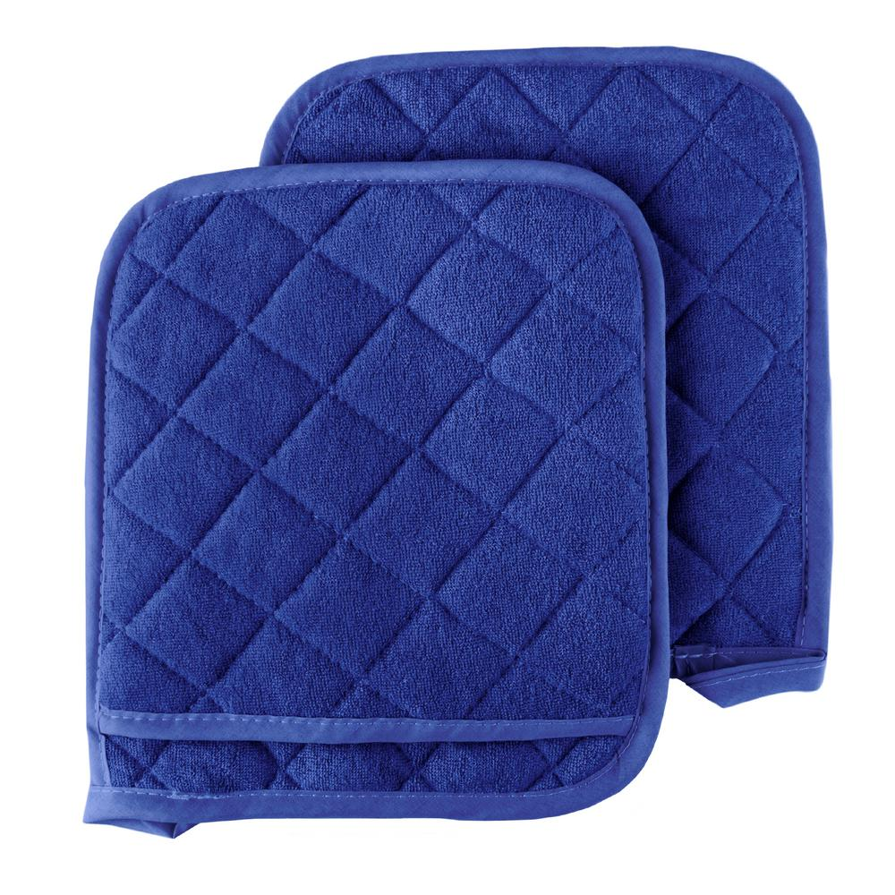 d42a8aa168a Lavish Home Quilted Cotton Blue Oversized Heat Resistant Pot Holder Set  (2-Pack)