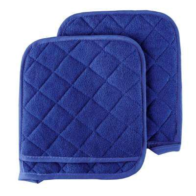 Quilted Cotton Blue Oversized Heat Resistant Pot Holder Set (2-Pack)