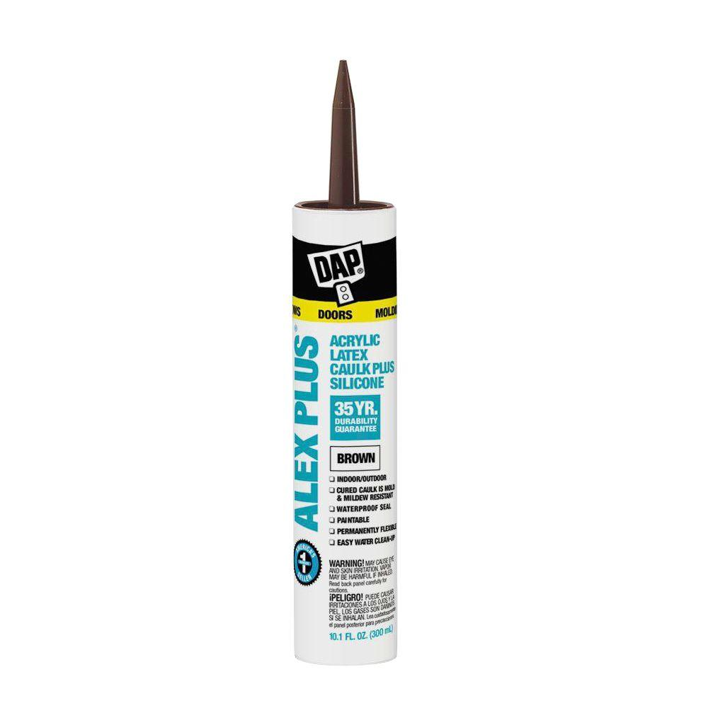 DAP Alex Plus 10.1 oz. Brown Acrylic Latex Caulk Plus Silicone (12-Pack)