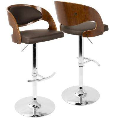 Pino Adjustable Height Walnut and Brown Faux Leather Bar Stool