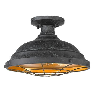Bartlett 14 in. 2-Light Black Patina Semi-Flush Mount