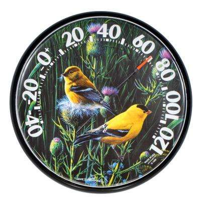 12.5 in. Goldfinches Analog Thermometer