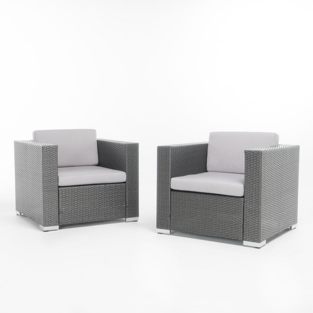 Noble House Murano Grey Stationary Wicker Outdoor Lounge Chair With Silver  Cushion (2 Pack