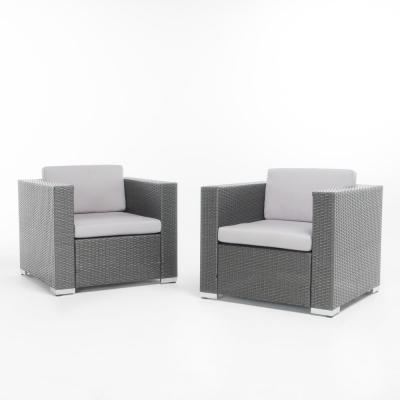 Murano Grey Stationary Wicker Outdoor Lounge Chair with Silver Cushion (2-Pack)