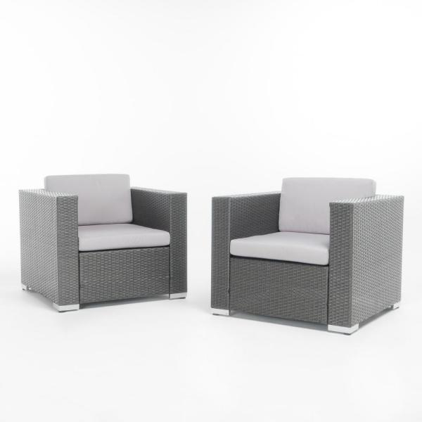 Noble House Murano Grey Stationary Wicker Outdoor Lounge ...