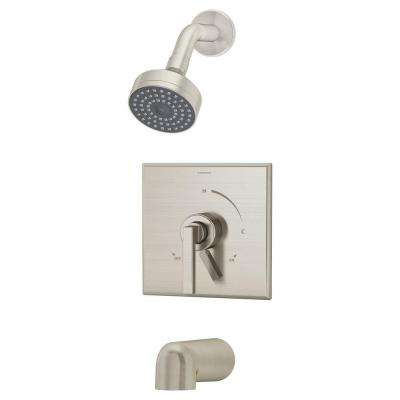Duro 1-Handle 1-Spray Tub and Shower Faucet in Satin Nickel (Valve Included)