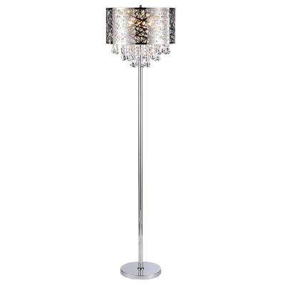 Ivica 64 in. Chrome 3-Light Metal Crystal Floor Lamp
