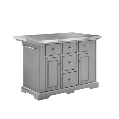 Julia Gray Kitchen Island with Towel Rack