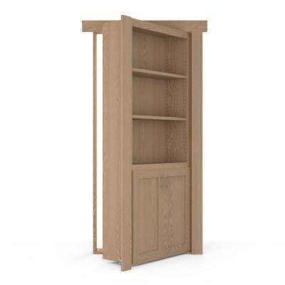 36 in. x 80 in. Flush Mount Assembled Laundry Door Oak Unfinished Left-Hand Outswing