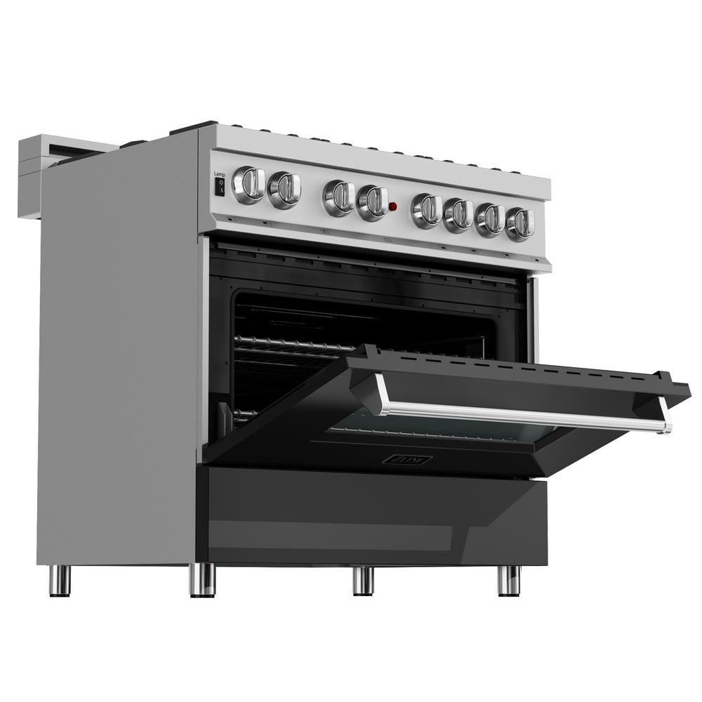 RG-BLM-36 Professional Gas on Gas Range in Stainless Steel with Black Matte Door ZLINE 36 in