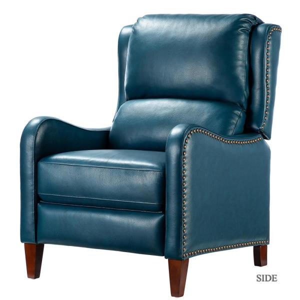 Jayden Creation Hyde Turquoise Nailhead Genuine Leather Recliner Rclb0052 Turquoise The Home Depot